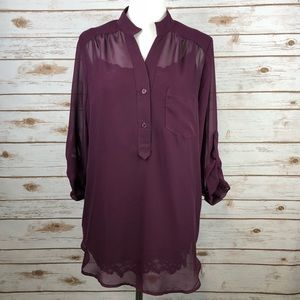 Maurice's Sheer Tunic Blouse With Matching Cami L